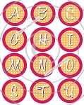 Bottle Cap Images -Orange Polka Dot Alphabet