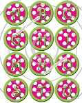 Bottle Cap Images - Pink Polka Dot Alphabet