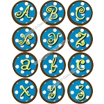 Bottle Cap Images - Blue Polka Dot Alphabet