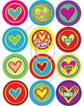 Bottle Cap Images -Crazy Cute Hearts