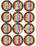 Bottle Cap Images -Tie Dye Alphabet
