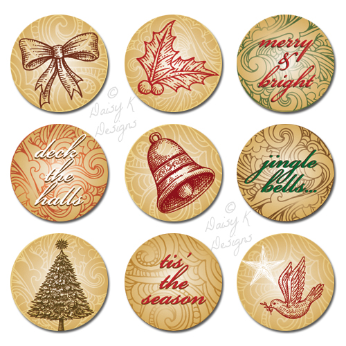 "Home > CRAFT SUPPLIES > Bottle Cap Images > Bottle Cap Images -You Print > Christmas Bottle Cap Images > 1"" Bottle Cap Images-Vintage Scroll Christmas"
