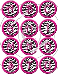 Bottle Cap Images -Zebra Print Alphabet