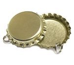 Two Sided Gold Bottle Cap Pendants - Standard