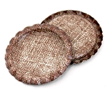 Two Sided Burlap Bottle Caps Flattened