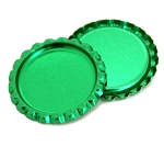 Two Sided Metallic Green Bottle Caps Flattened