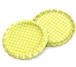Two Sided Bright Yellow - White Polka Dots Bottle Caps Flattened