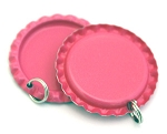 Two Sided Hot Pink Bottle Cap Pendants -Flattened