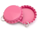 Two Sided Hot Pink Bottle Cap Pendants - Standard