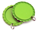Two Sided Lime Green Bottle Cap Pendants -Flattened