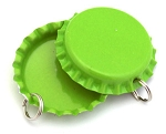 Two Sided Lime Green Bottle Cap Pendants -Standard