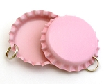 Two Sided Pink Bottle Cap Pendants - Standard
