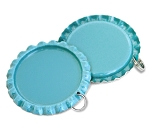 Two Sided Aqua Blue Bottle Cap Pendants - Flattened