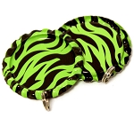 Two Sided Lime Green Zebra Bottle Cap Pendants - Flattened