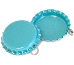 Two Sided Aqua Blue Bottle Cap Pendants - Standard