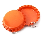 Two Sided Tangerine Bottle Cap Pendants -Standard