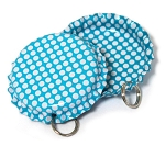 Two Sided Aqua Blue - White Polka Dots Bottle Cap Pendants - Standard