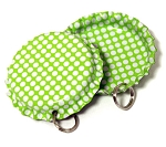 Two Sided Lime Green - White Polka Dots Bottle Cap Pendants - Standard