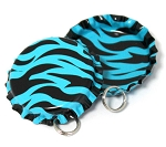 Two Sided Aqua Zebra Bottle Cap Pendants - Standard