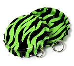 Two Sided Lime Green Zebra Bottle Cap Pendants - Standard