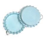 Two Sided Light Blue Bottle Cap Pendants -Standard