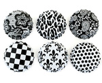 Two Sided White Bottle Caps with Black Patterns -Assortment