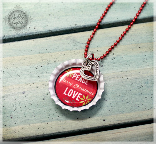 Christmas Bottle Cap Necklace with Heart Charm