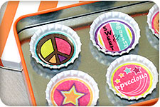 Bottle Cap Crafts with Color