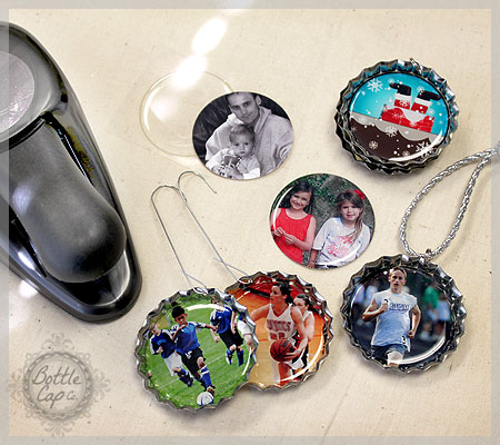 Photo Christmas Ornaments with Jumbo Bottle Caps