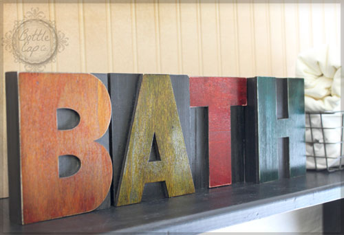 DIY: BATH Letter Press Block Home Decor