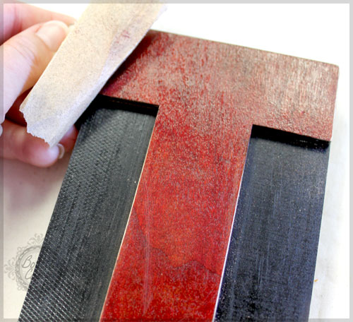 distress your letter press block with sand paper