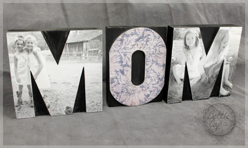 DIY: MOM Letter Press Block Photo Home Decor