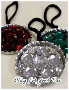 Super Jumbo Bottle Cap Christmas Ornaments with Acrylic Gems