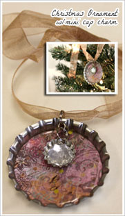 Super Jumbo Christmas Ornament with Mini Bottle Cap Charm