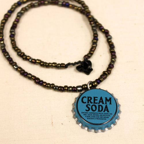 Beaded bottle cap necklace