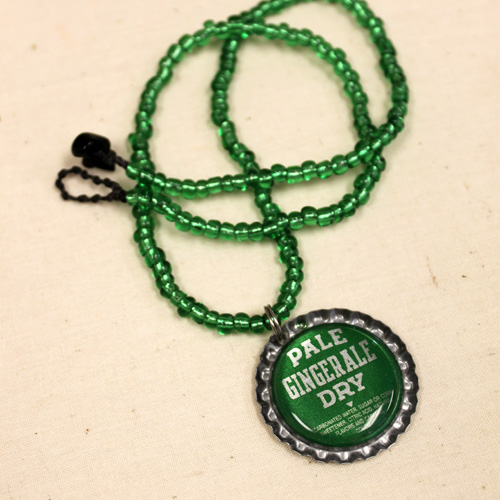Ginger Ale Beaded bottle cap necklace