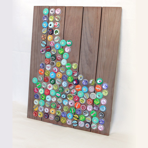 Vintage Bottle Cap Mosaic State Art