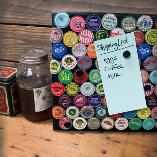 DIY Magnetic Bottle Cap Message Board