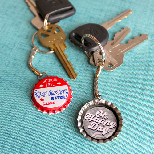 Oh Happy Day Bottle Cap Key Chain