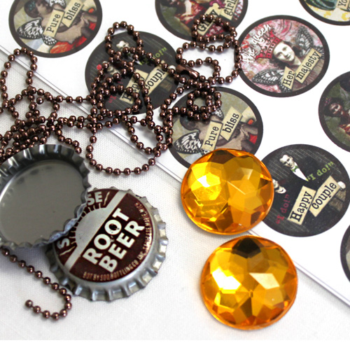 Vintage Bottle Cap Necklace with Sparkle