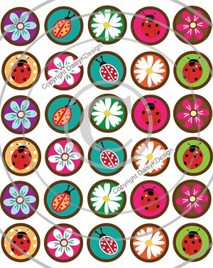 Bottle Cap Images - Mini Lady Bugs & Flowers