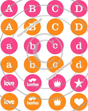 Bottle Cap Images -Mini Alphabet Pink & Orange