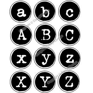 Bottle Cap Images -Typewriter Alphabet