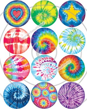 Bottle Cap Images -Tie Dye Fun