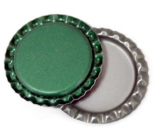 Green Bottle Caps Flattened