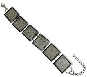 Antique Silver 3 4 Inch Square Bezel Bracelet