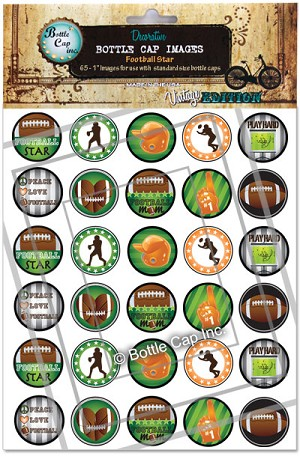 Football Star Bottle Cap Images - Printed
