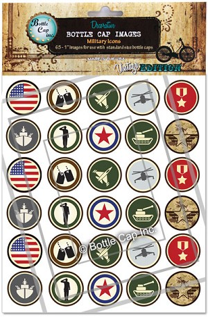 Military Icons Bottle Cap Images - Printed