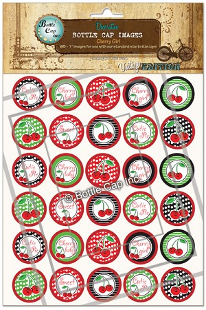 Cherry Girl Bottle Cap Images - Printed