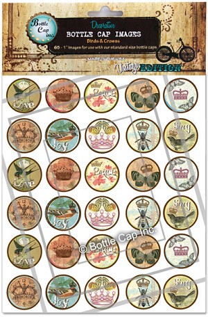 Birds and Crowns Bottle Cap Images -Printed